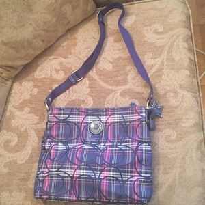 Plaid Coach crossbody purse